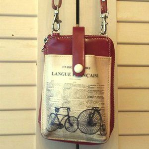 Red Dictionary Print Crossbody Smartphone Pouch